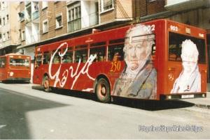 publicidad de Goya en bus